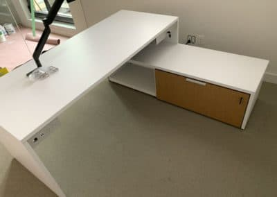 Home office installation example - desk, monitor arm and storage unit