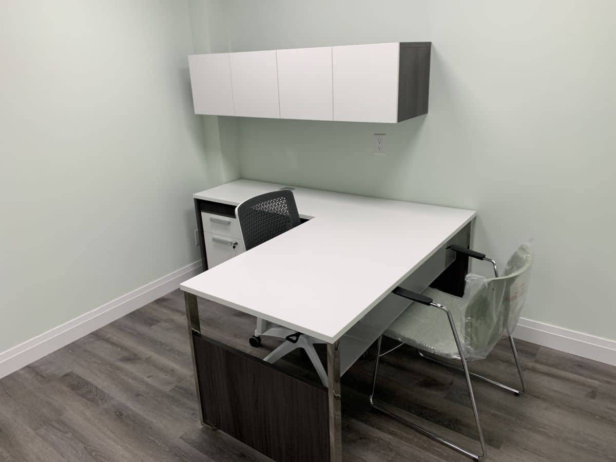 Single office desk, chair and storage unit - home office installation example