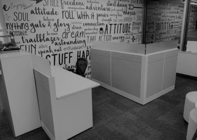 Open concept office space furniture - furniture installation example - walled office space